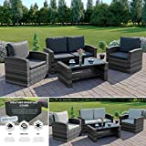 Mixed Grey Rattan Weave Sofa Set Garden Conservatory Furniture Light/Dark Cushions INCLUDES OUTDOOR PROTECTIVE COVER (Dark Mixed Grey with Dark Cuhsions, 2 Seater Sofa)