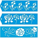 (Satz von 3) 28cm x 8cm Flexibel Kunststoff Universal Schablone - Wand Airbrush Möbel Textil Decor Dekorative Muster Design Kunst Handwerk Zeichenschablone Wandschablone - Blätter Blumen Rose