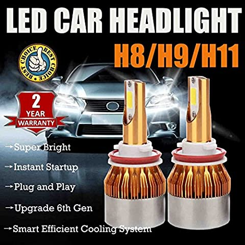 H8 / H9 / H11 LED Bulb Headlight Low Beam Fog Lights Bulbs Super Bright 7200 Lumen 6000K White Daytime Running Lamp Replacement Kit - Plug and Play 2-Year Guarantee