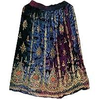 Colorido de las señoras de la India Boho Hippie gitano largo de lentejuelas de la falda del verano del rayón de danza del vientre étnico