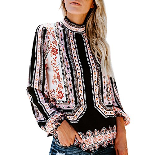 Hmeng Frauen Blumendruck Langarm Stehkragen Casual Chiffon Bluse Shirt Tops (Schwarz, S)