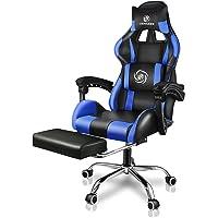 LUCKRACER Gaming Stuhl Massage mit Fußstütze Bürostuhl Massage Lendenkissen Drehstuhl Racing Armlehne PU Leder hohe…