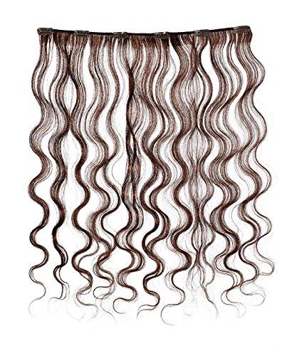 American Dream - A4/QFC12/18/080-100% Cheveux Naturels - Douce Ondultation - Pièce Unique Extensions à Clipper - Couleur 080 - Brun Foncé Moka - 46 cm