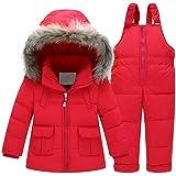 Skijakkeset Abrigos para la Nieve para Niña Chaqueta de Esquí Invierno Gruesa Conjunto Ropa de Plumas Capucha + Pantalón con