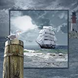 Artland Qualitätsbilder I Glasbilder Deko Glas Bilder 50 x 50 cm Fahrzeuge Boote Schiffe Digitale Kunst Blau A8PM Maritime Collage mit Segelschiff