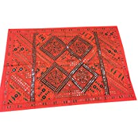 Mogul Interior Tapestry Vintage Red Sari Tapestry with Miror Patchwork Wall Hanging Throw