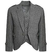 MasonicDirect Tweed Crail Highland Gray Color Kilt Jacket and Waistcoat Scottish Wedding Dress