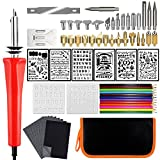 66Pcs Wood Burning Kit, ExcelFu Pyrography Iron Pen Tool Set with Complete Iron Tips, Letter Numbers Stencils, Colorful Pencils and Carbon Papers, Engraving Craft Tools for Woodworking, Leather, Cork