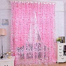 Bluelover 100x200cm flor tul impresión ventana cortina balcón dormitorio cortina - rosa