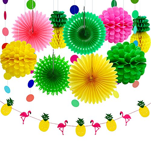 Aneco 11 Piezas Summer Party Decoration Kit Tissue Pineapples Paper Pom Poms Flowers Papel Seda Fan Polka Dot Paper Garland Flamingo Pineapple Banners para Hawaiian Summer Luau Party