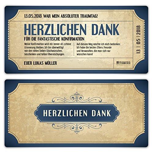 30 x Konfirmation Dankeskarten Danksagungskarten Danksagung Konfirmationskarten - Vintage Eintrittskarten in Blau
