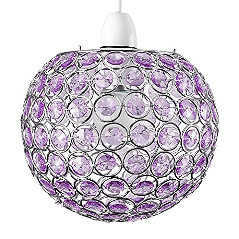 Modern Chrome Globe Ceiling Light Shade with Purple Acrylic Crystal Effect Jewels