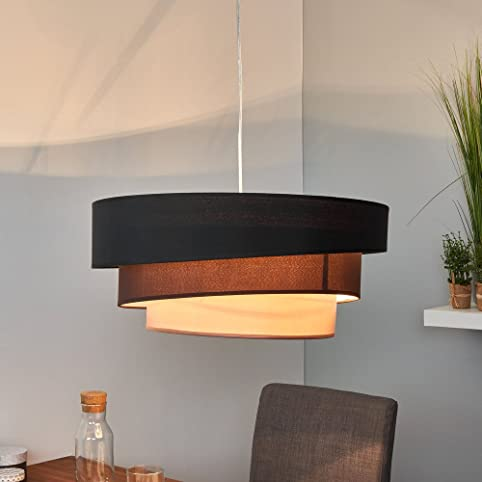 LED Pendelleuchte Hangeleuchte Hangelampe Modern Rund 3 Flammig E27 Design Stofflampe Esszimmerlampe Wohnzimmerlampe Esstischlampe Beleuchtung Leuchte Stoff