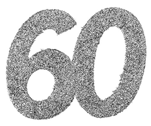 (XXL Konfetti Tischdeko Zahl 60 Geburtstag Silber Glitzer 6 Stück Party-Deko Palandi®)