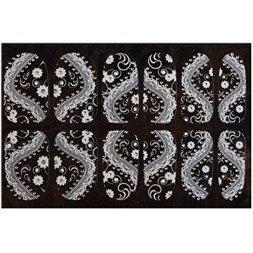 Ouneed® 1pc Imprimés Fleur Lace pour Ongles Décalques à l'eau 5.2CMX6.3CM