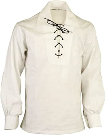 Z&N PRODUCTS Cream Scottish Highland Jacobite Jacobean Ghillie Kilt Shirt