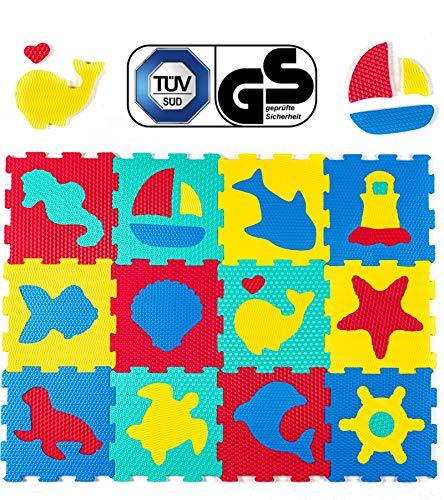 Hakuna Matte Puzzlematte für Babys - TÜV SÜD GS Zertifiziert - 12 Schaumstoffplatten mit Tieren in Einer Aufbewahrungstasche - 20{b89248e8735ec15e9027bf4f6407153f378b31bf719cb717933b9db1a59eb2be} dickere Spielmatte - 4 Oberflächentypen - 1,2x0,9m, Modell: 10.2019