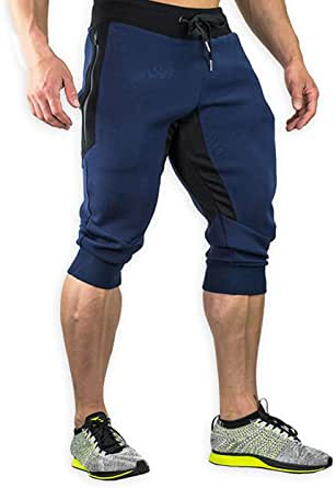 YSENTO Mens Cotton Casual 3/4 Joggers Shorts Gym Running Shorts Workout Jogger Shorts with Zip Pockets