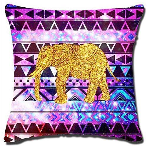 AoIlee - Funda de cojín de Terciopelo con diseño de Elefante Dorado y Morado (45 x 45 cm)