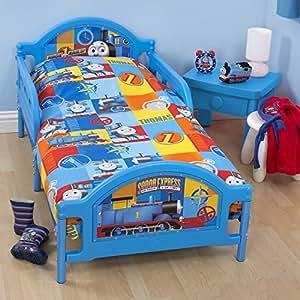 thomas le petit train parure de lit junior gar on lit junior bleu cuisine. Black Bedroom Furniture Sets. Home Design Ideas