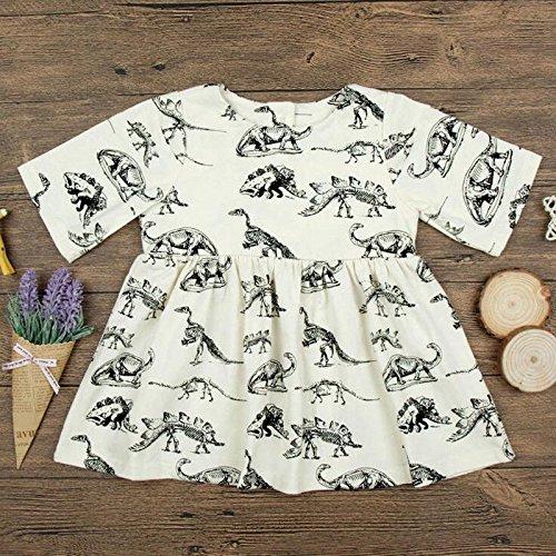 Zooarts für 0-24Monate Kids Mädchen Dinosaurier Print Prinzessin Kleid Rock Lange Ärmel Boutique Outfits, Multi, 70 (0-6 Months) (Boutique Kleidung Kid)