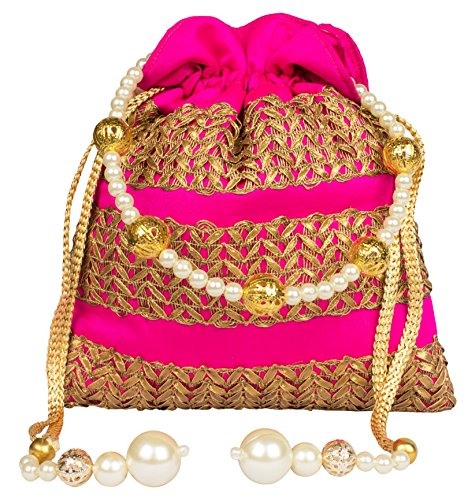 Bombay Haat Ethnic Rajasthani Potli Bag / Clutch / Bridal Clutch ( Majenta / Pink )  available at amazon for Rs.299