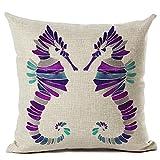 Coolsummer color pattern design Lino Hippocampus quadrato pillowcasesdecorative come federa per divano 45,7x 45,7cm, UKS035A6, 18 x 18