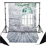 AFUT 1,5 x 2,1 M Brick Wand Fenster Boden Fotohintergrund Fotografie Stoffhintergrund, Hintergrund-Hintergrundstoff für Fotografie