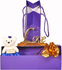Addyvero Luxurious 24K Gold Rose With Love Stand And A Soft Teddy Bear