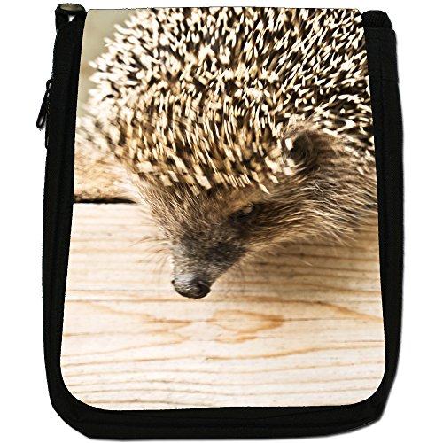Prickly Hedgehog-Borsa a tracolla in tela, colore: nero, taglia: M Hedgehog Peering Down