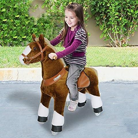 PonyCycle®Shop ORIGINAL SOUNDING PFERD Reiten auf Pony Kein batteriebetriebener Brauner und weißer Huf klein mit SOUND N3151-15
