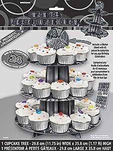 Unique Party Soporte para cupcakes personalizable Color negro brillante 55403