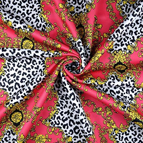Fabric Styles FS310 rosa/rote Leoparden-Kette, Abstraktes Fliesen-Print, Jersey, Scuba, Stretch, Meterware
