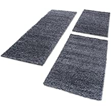 Shaggy Hochflor Teppich Carpet 3TLG Bettumrandung Läufer Set Schlafzimmer Flur, Farbe:Grau, Bettset:2x60x110+1x100x200
