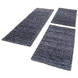Shaggy Hochflor Teppich Carpet 3TLG Bettumrandung Läufer Set Schlafzimmer Flur, Farbe:Grau, Bettset:2x80x150+1x80x250