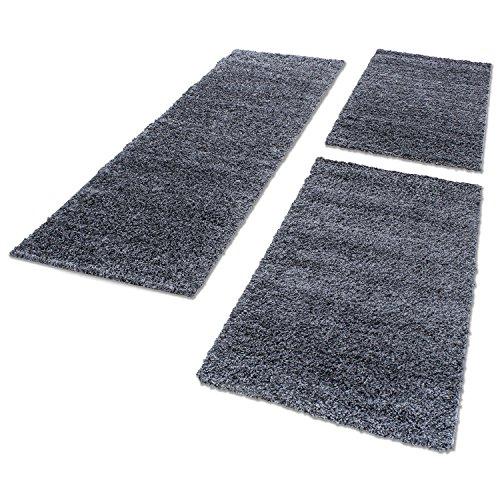 Shaggy Hochflor Teppich Carpet 3TLG Bettumrandung Läufer Set Schlafzimmer Flur, Farbe:Grau, Bettset:2x60x110+1x80x250