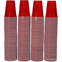 AmazonBasics - Partybecher aus Kunststoff, Einwegbecher, 473 ml, 240er-Pack, Rot
