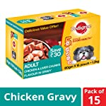 Pedigree Adult Wet Dog Food, Chicken and Liver Chunks in Gravy, 80 g (Pack of 15)