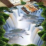 Weaeo Cliff Falls Flying Bird Bodenbelag Malerei Bad Büro Dekoration Selbstklebende Bodenwand-400X280Cm