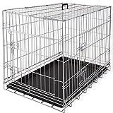 Lovpet® Hundetransportbox Hundebox Transportbox Hundekäfig ✓ Mit Front- und Seitentür ✓ Robustes Metall ✓ Herausnehmbare Bodenwanne | Gitterbox für Zuhause & auf Reisen | Ausreichend Platz | Praktische Tragegriffe, Farbe:Silber, Größe:L