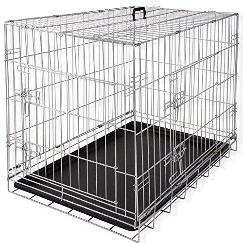 Lovpet® Hundetransportbox Hundebox Transportbox Hundekäfig ✓ Mit Front- und Seitentür ✓ Robustes Metall ✓ Herausnehmbare Bodenwanne | Gitterbox für Zuhause & auf Reisen | Ausreichend Platz | Praktische Tragegriffe, Farbe:Silber, Größe:S