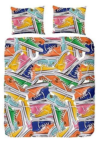 Good Morning pour lit Double avec housse de couette en coton avec motif Baskets Multicolore