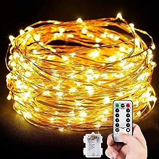 Cadena de Luces, Guirnalda de Luces 10M 100 LED Impermeable Alambre de Cobre de 8 Modos de Luz, con Control Remoto para Lluminación DIY, Navidad, Decoración Fiesta, Jardín, Boda etc