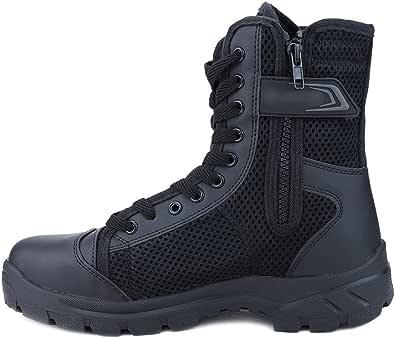 LUDEY Hommes Bottes Militaire avec Fermeture Latérale, Patrouille Combat Armée Tactique Recrues Travail Sécurité Militaire Chaussure A-307