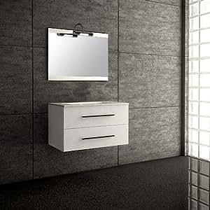 Mennza - Meuble suspendu de salle de bain SÉVILLE blanc brillant 80 cm