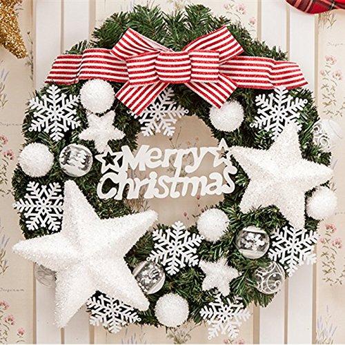 Yifom appendere fiocchi di neve bianca Ghirlanda di Natale Natale corona porta decorazione, 60cm