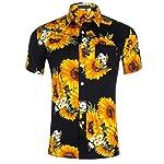 TUDUZ Blouse Women's Shirt Holiday Beach Sunflower Print Hawaiian Shirt Slim Fit Button Lapel Short Sleeve Casual Shirt...