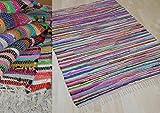 MB Warenhandel24 Fleckerl MALMÖ Multicolor Baumwolle Handweb Teppich viele Größen erhältlich (ca. 60x110 cm)