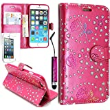 Baba Essentials 4u� Diamond Wallet Apple iPhone 5c Bling Glitter Leather Wallet Stand Case Cover Side Flip Phone Pouch with Card Holder Incl. Screen Protector & Stylus Pen (Hot Pink)