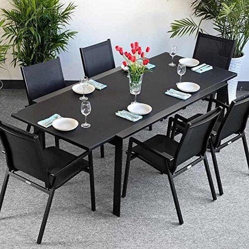 Table aluminium et verre Janine et 6 Chaises Abigail - NOIR | Table extensible 220cm - Table à manger en métal